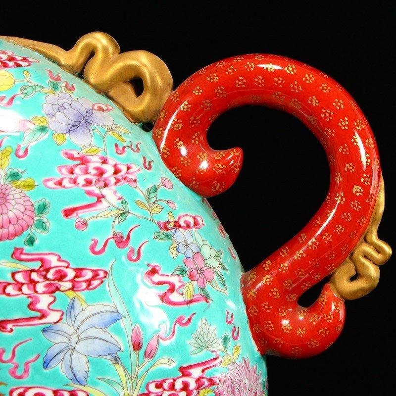 Famille Rose Porcelain Dragon Phoenix Big Wine Pot - 8