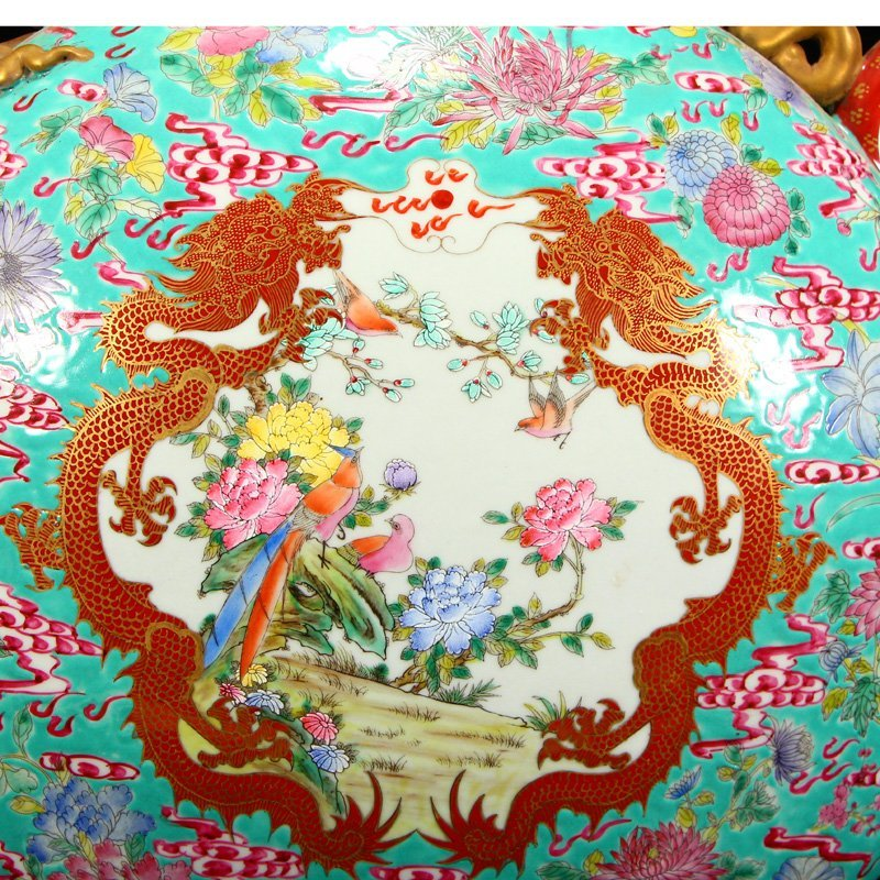 Famille Rose Porcelain Dragon Phoenix Big Wine Pot - 9