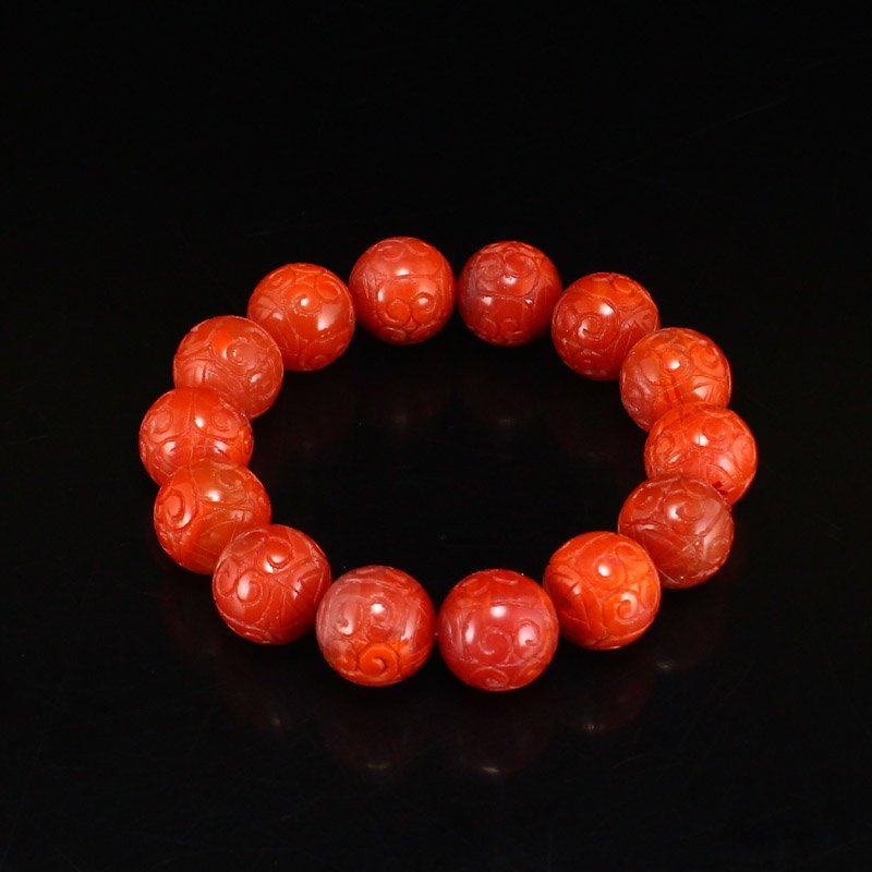 17 MM Chinese Natural Nanhong Agate Lucky Bracelet
