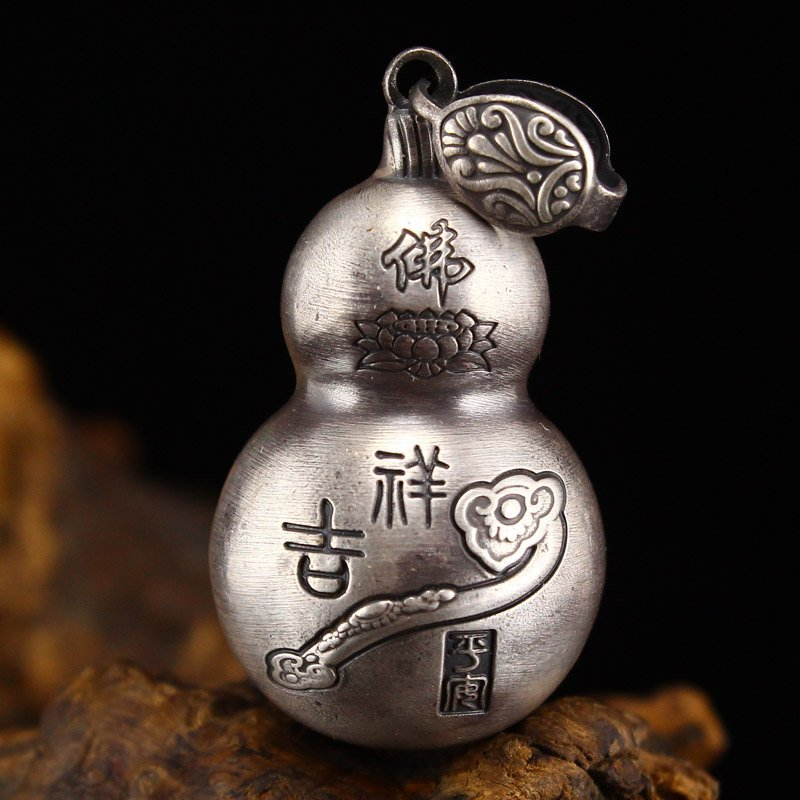 Vintage Chinese Sterling Silver Gourd Pendant