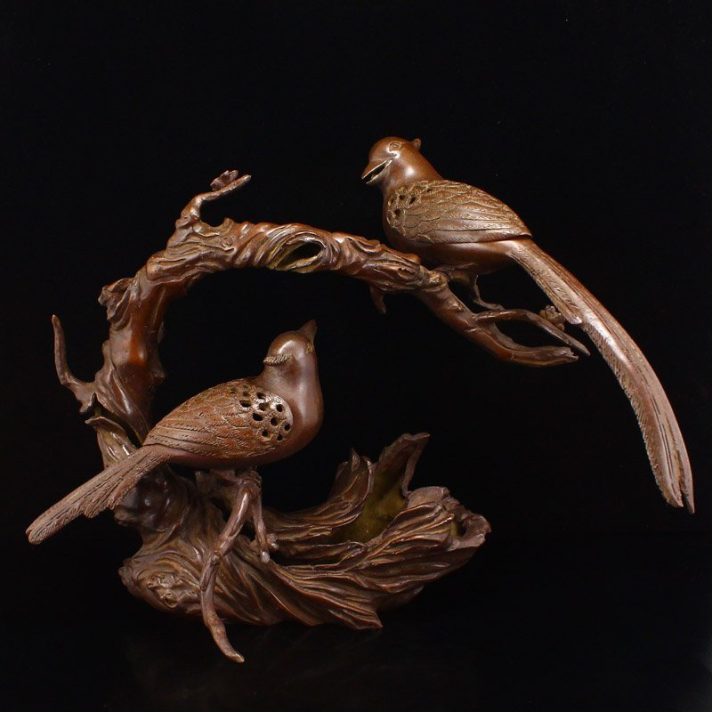 Superb Chinese Red Copper Magpies Incense Burner
