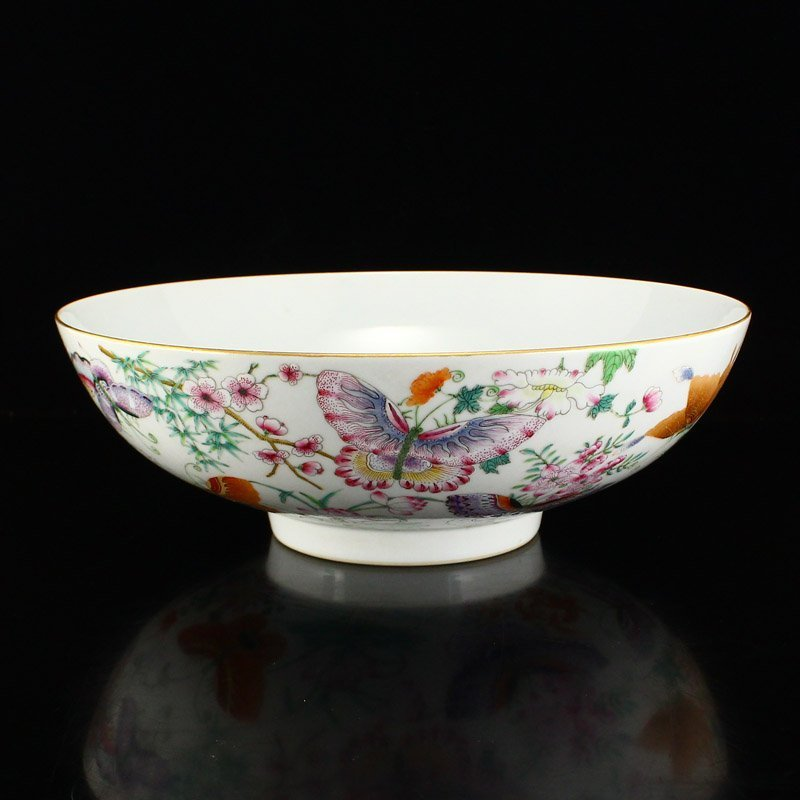 Gilt Edge Famille Rose Porcelain Bowl - Butterflies
