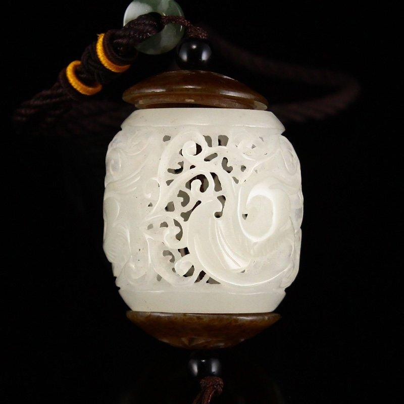 Superb Openwork Chinese Hetian Jade Phoenix Sachet