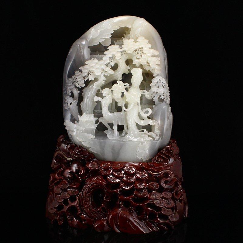 Superb Hetian Jade Mythological Characters Statue