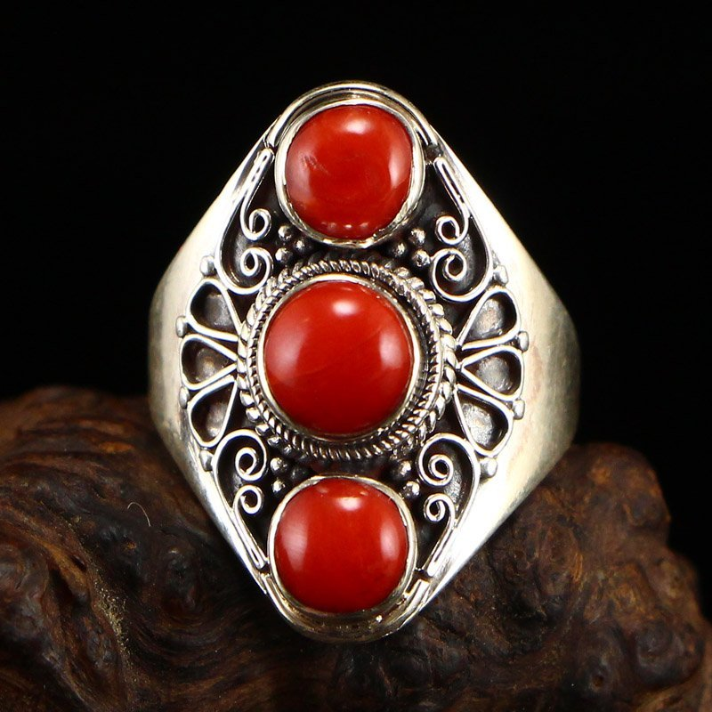 Chinese Sterling Silver Inlay Red Coral Ring
