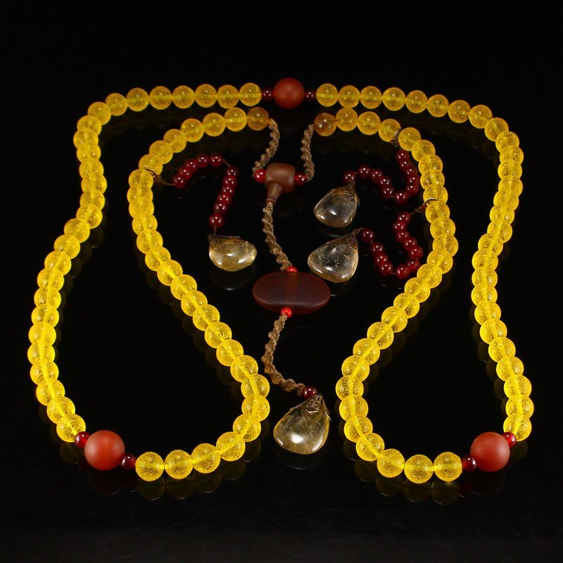 Chinese Qing Dy Amber & Crystal Court Beads Necklace