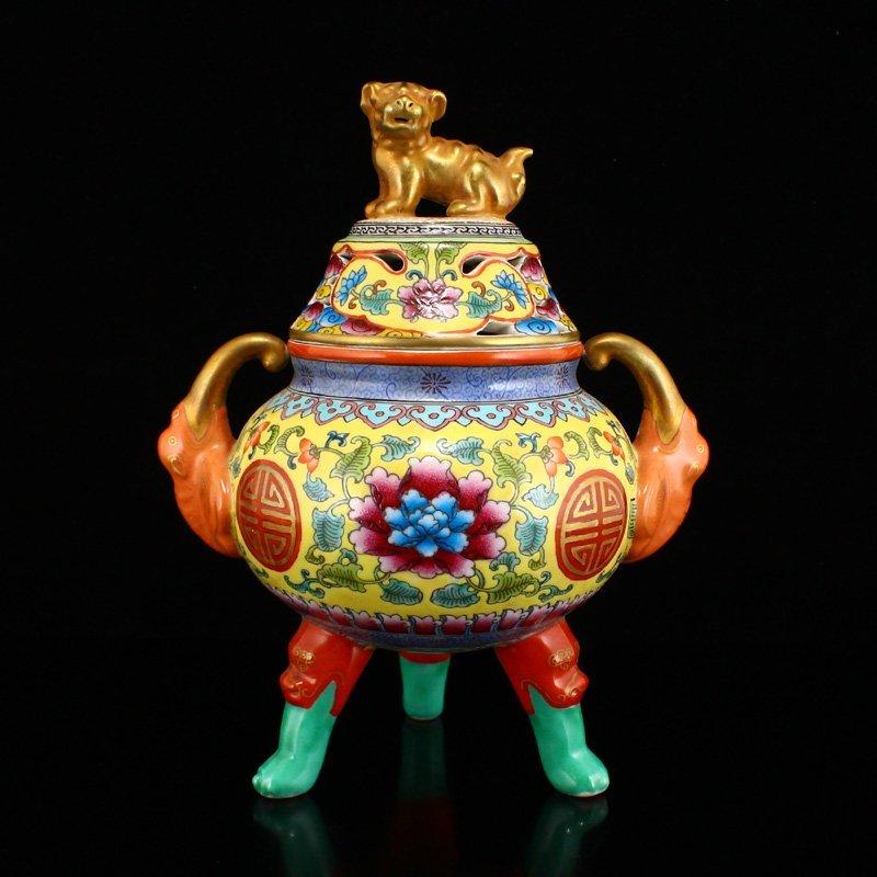 Gilt Gold Famille Rose Porcelain 3 Legs Incense Burner