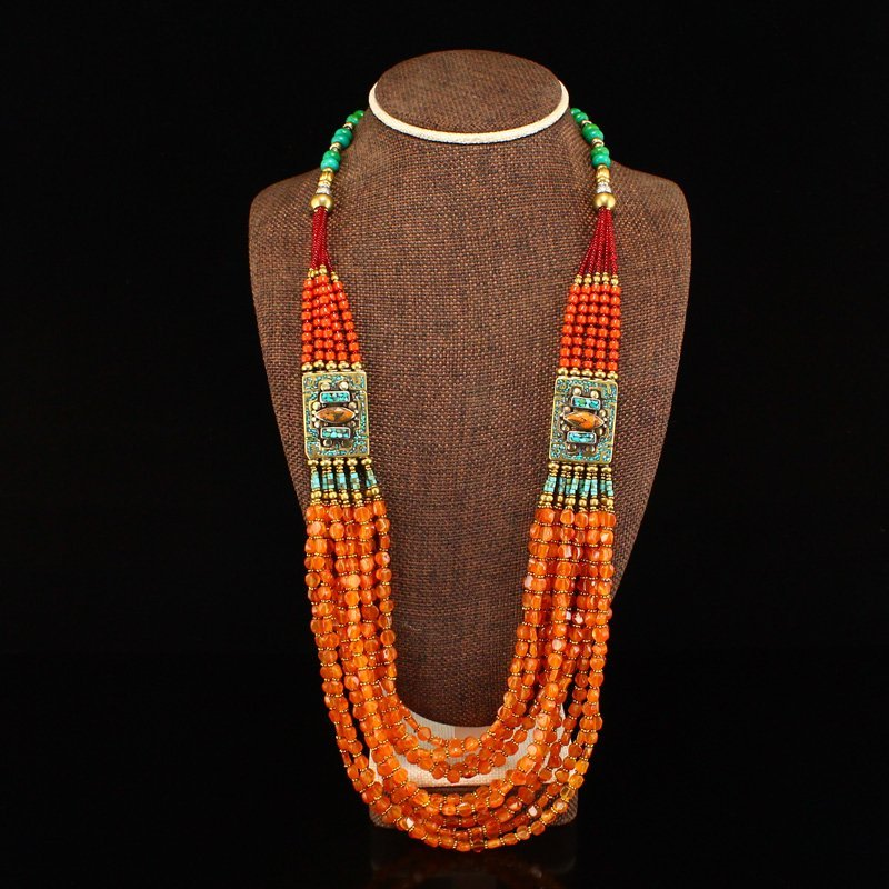 Tibetan Silver Inlay Gems & Coral,Turquoise Necklace