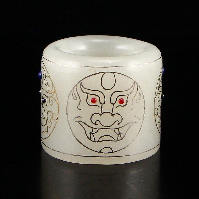 Hetian Jade Inlay Silver Wire & Gem Thumb Ring