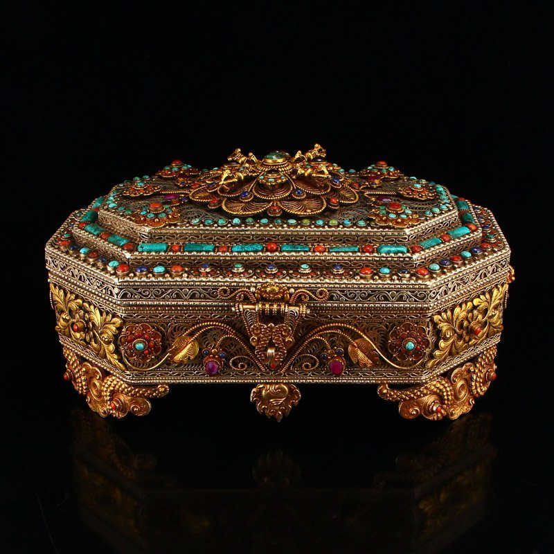 Vintage Tibetan Silver Inlay Natural Gems Jewelry Box