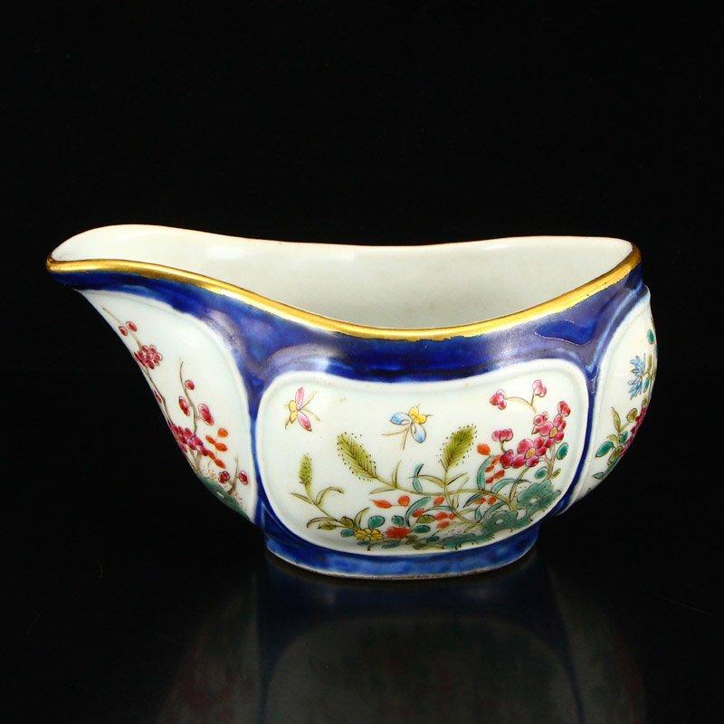 Chinese Gilt Edge Famille Rose Porcelain Wine Splitter