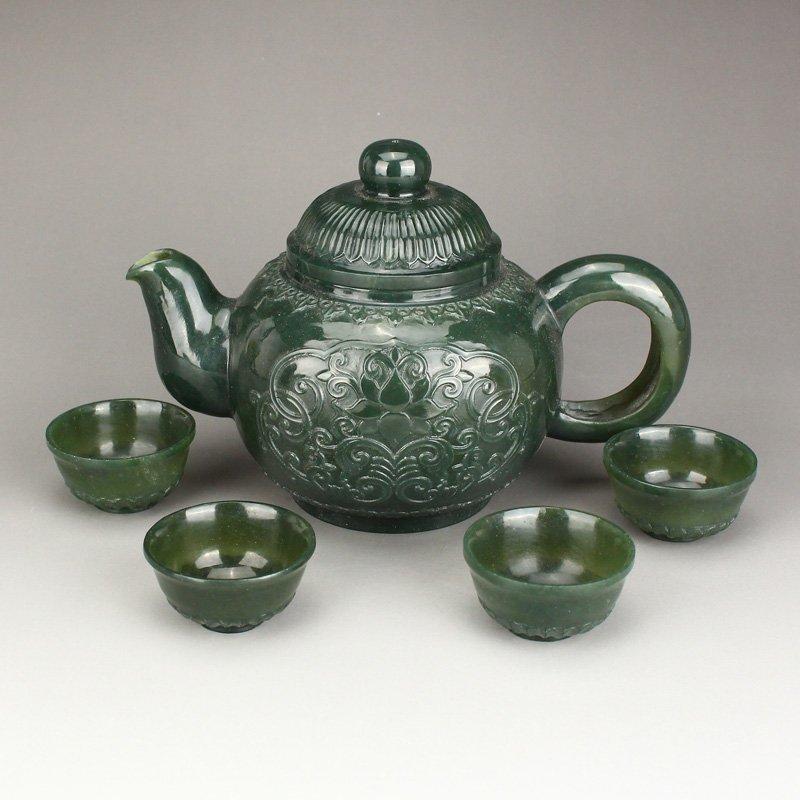 Set Superb Deep Green Hetian Jade Teapot & Cups