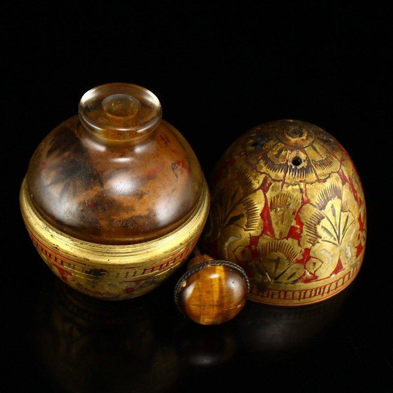 Peking Glass Inside Painting Snuff Bottle W Copper Hull