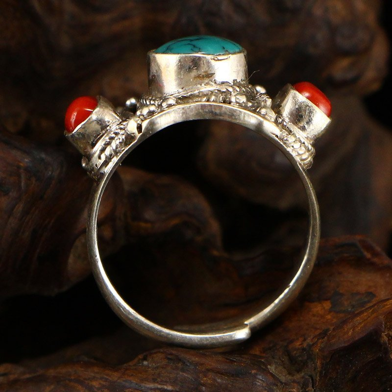 Chinese 925 Silver Inlay Turquoise & Coral Men's Ring