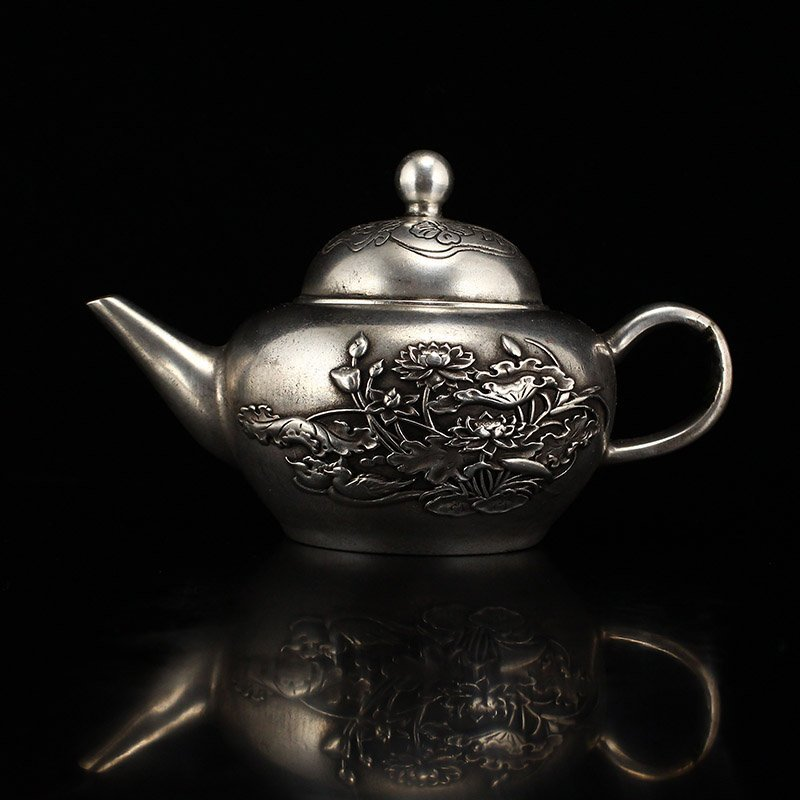 Chinese Bronze Silver-Plated Low Relief Lotus Teapot