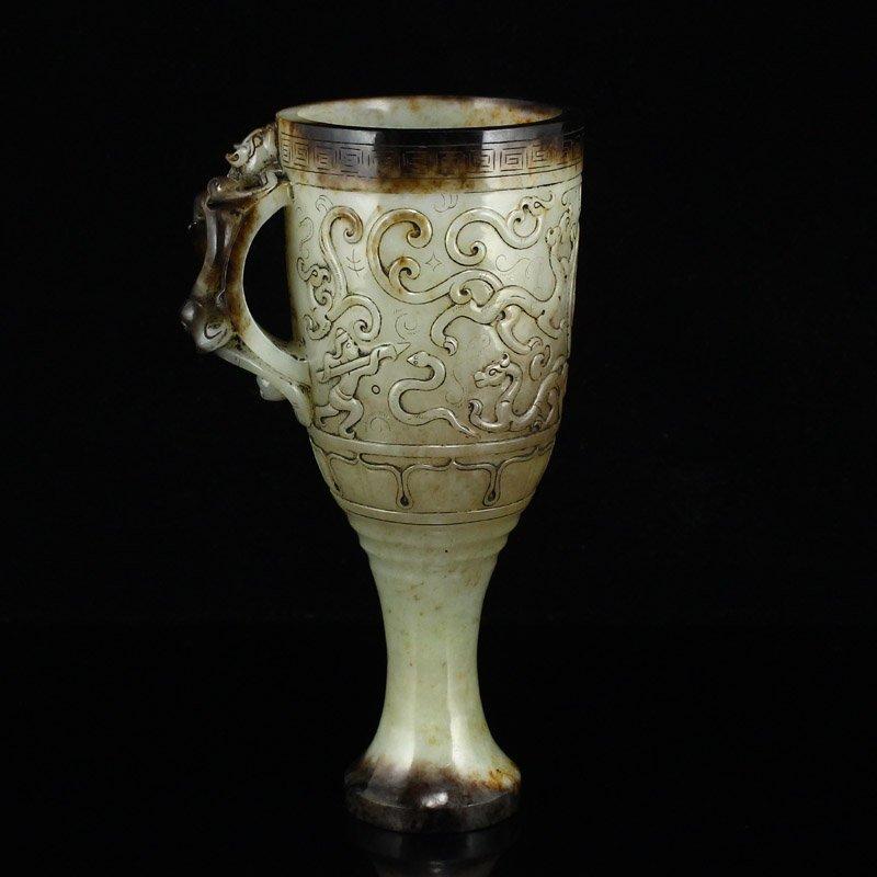 Han Dy Hetian Jade Low Relief Dragon Phoenix Wine Cup