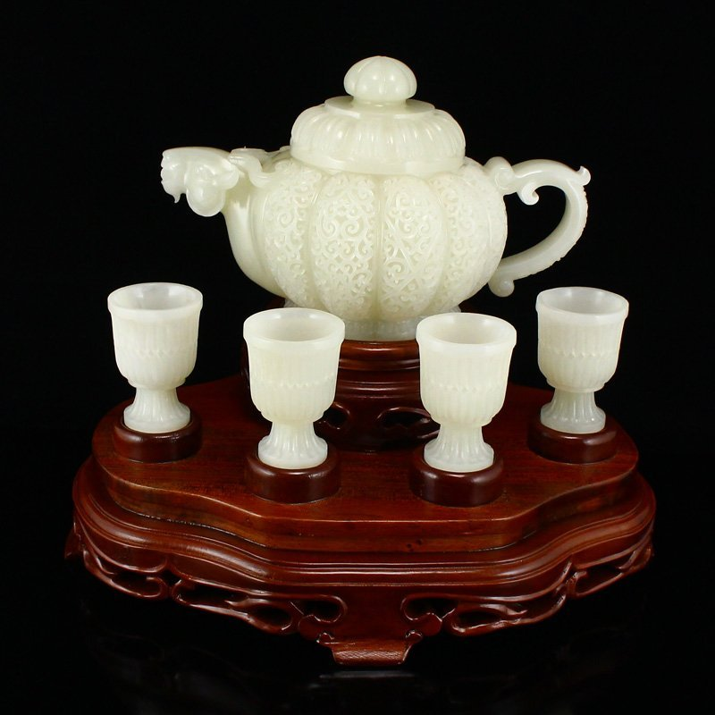 Set Superb Chinese Hetian Jade Sheep Head Teapot & Cups