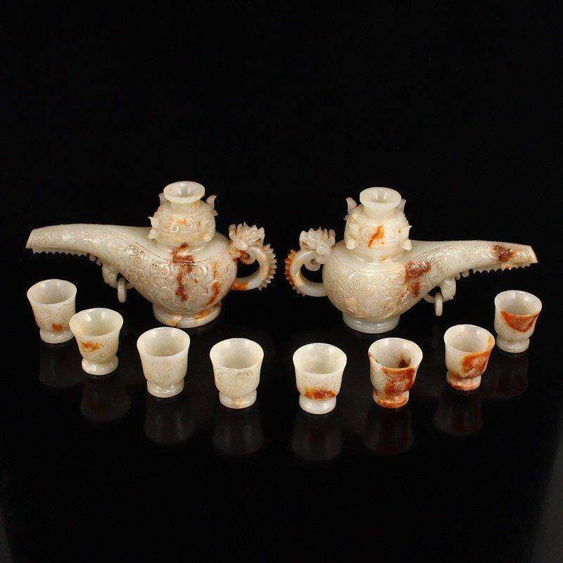 A Pair Superb Hetian Jade Low Relief Wine Pots & Cups