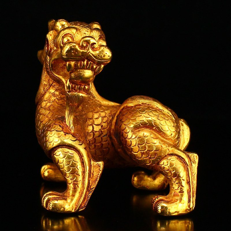 Vintage Gilt Gold Red Copper Fortune Beast Statue