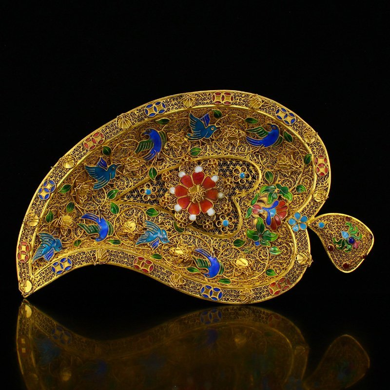 Excellent Qing Dy Gold Wire Enamel Leaf Shape Plate