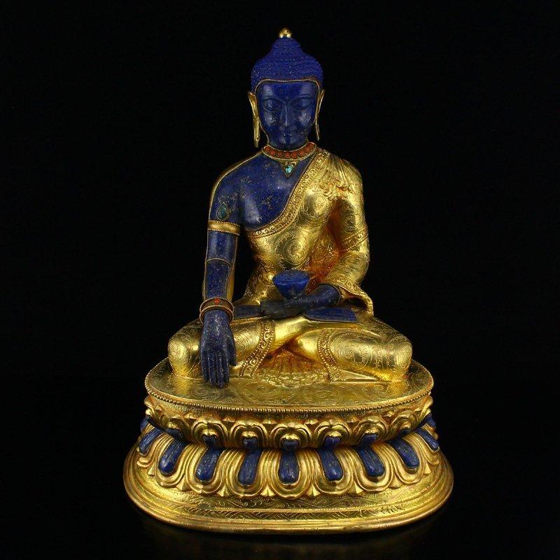 Gilt Gold Red Copper Inlay Lapis Lazuli Medicine Buddha
