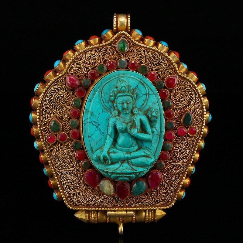 Tibetan Buddhism Sterling Silver Gilt Gold Gau Box