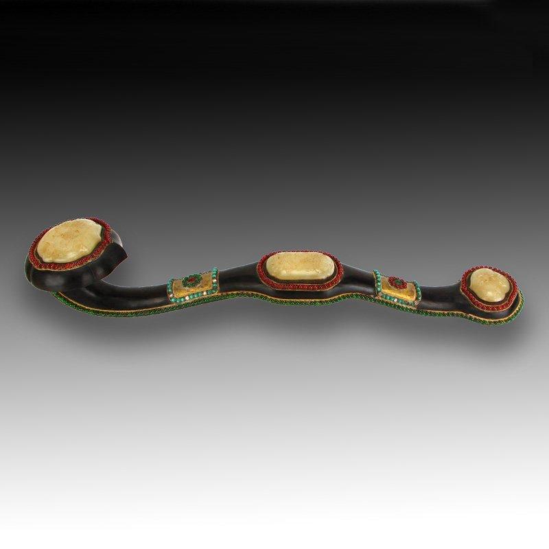 Zitan Wood Inlay Hetian Jade & Gems Ruyi Scepter