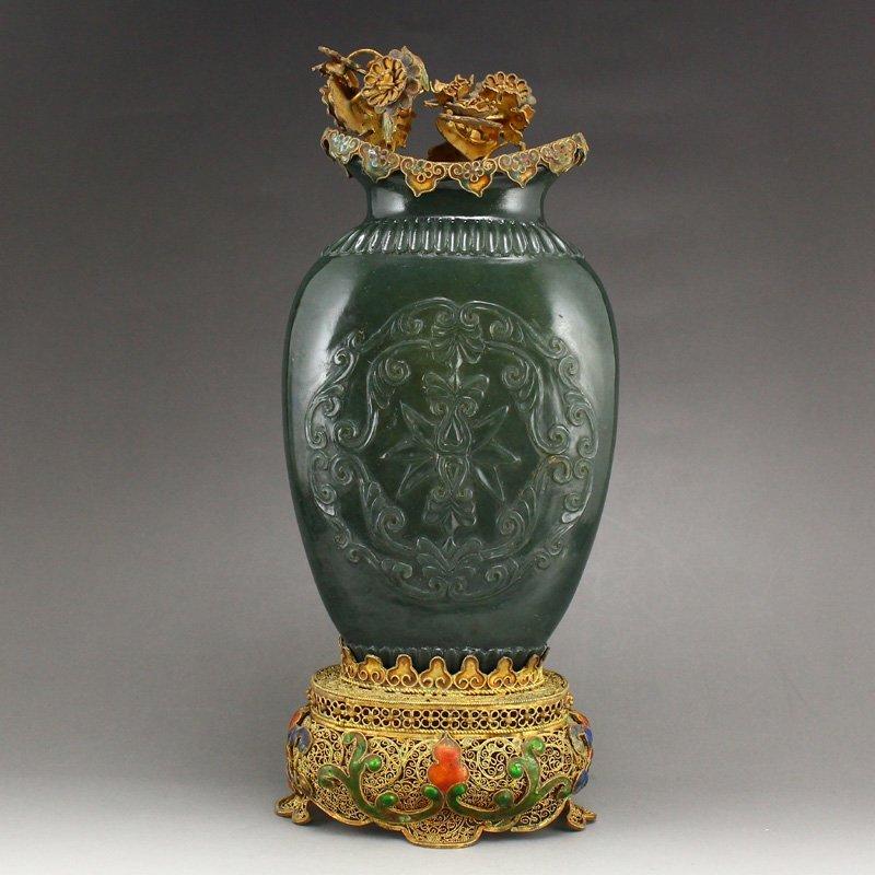 Green Hetian Jade Vase w Gold Wire Enamel Base & Lid