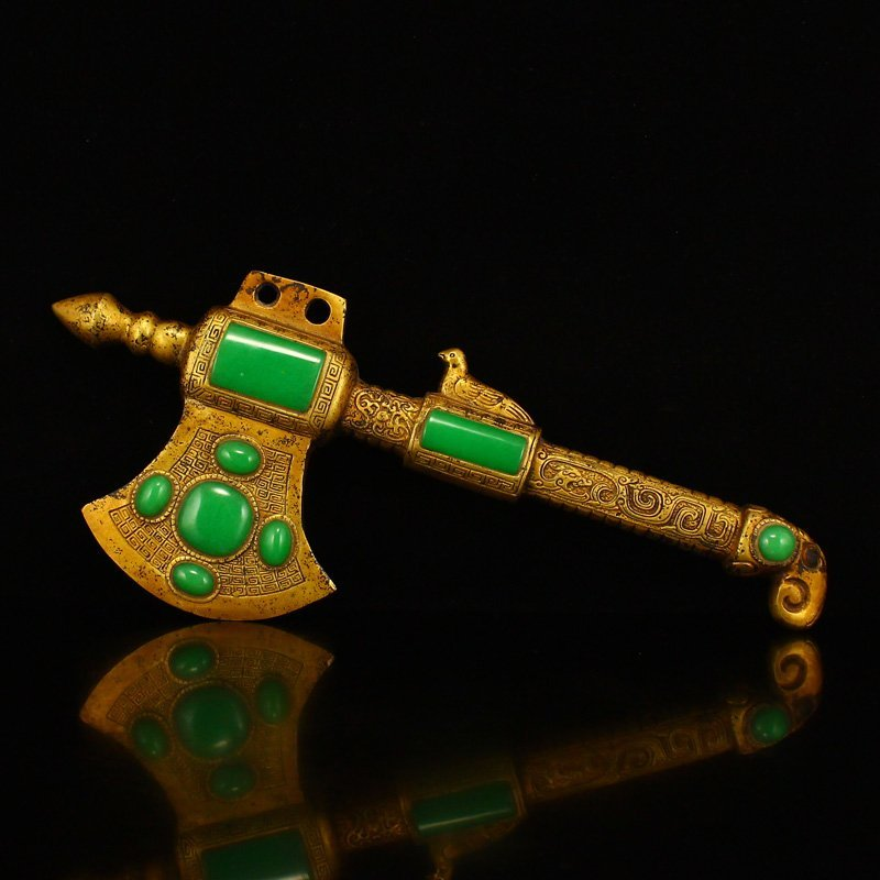 Vintage Gilt Gold Bronze Inlay Green Jade Axe Statue