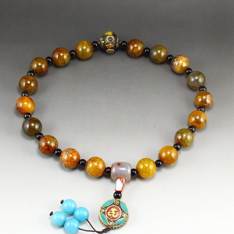 Vintage Tibetan Agate Beads Prayer Bracelet