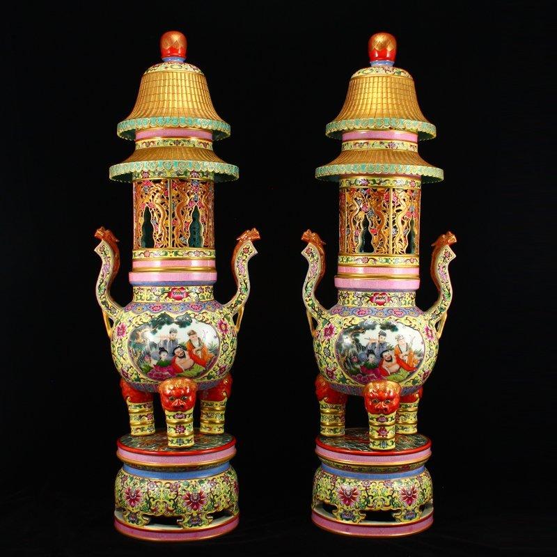 Pair Gilt Gold Famille Rose Porcelain Incense Burner