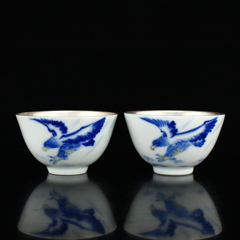 Gilt Gold Silver-plated Blue And White Porcelain Cups