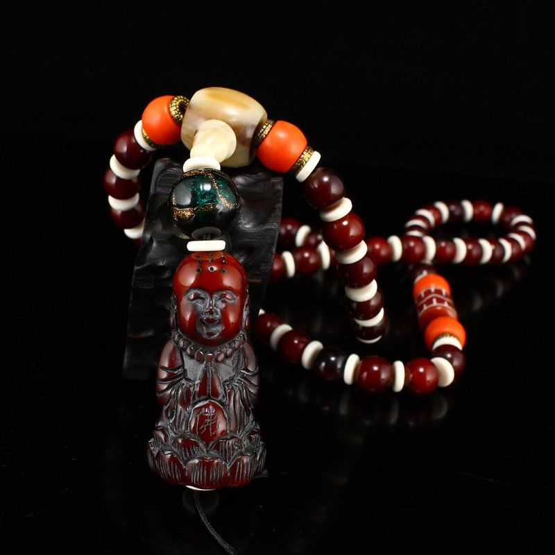 Vintage Chinese Ox Horn Prayer Beads Necklace