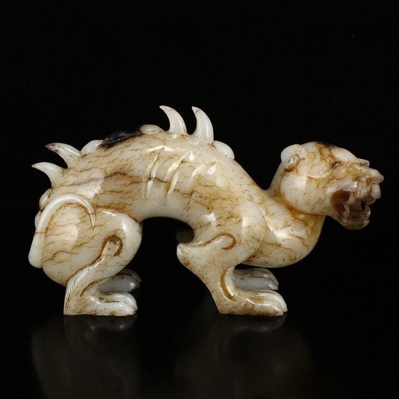 Superb Vintage Chinese Hetian Jade Beast Statue