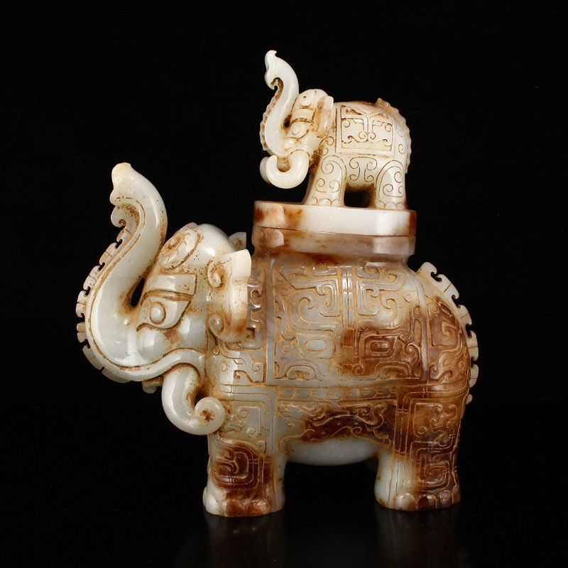 Vintage Chinese Hetian Jade Elephant Incense Burner