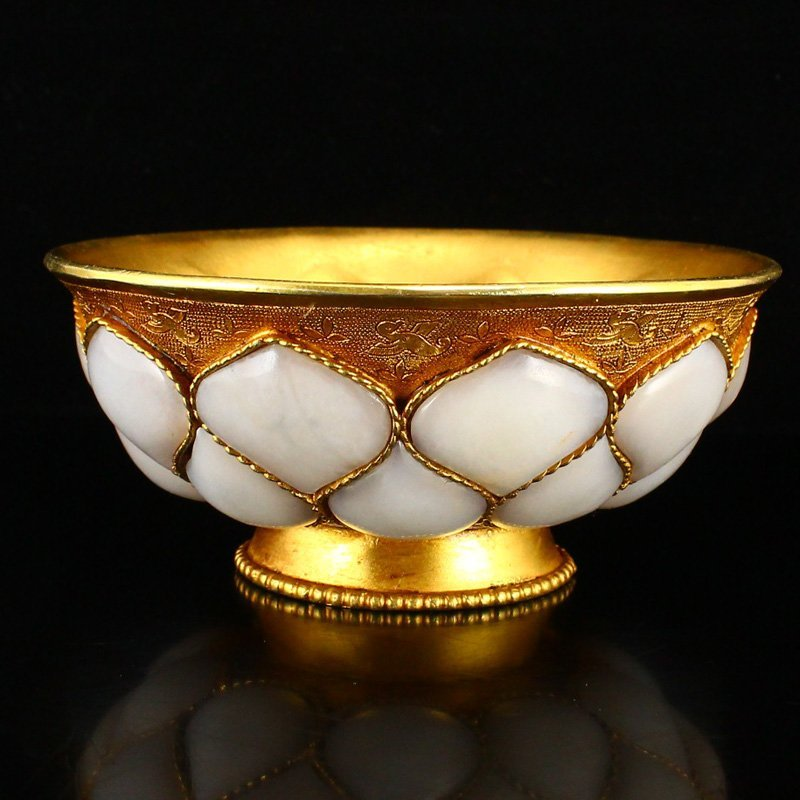 Gilt Gold Red Copper Inlay Natural Hetian Jade Bowl