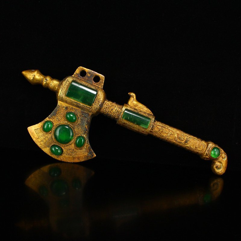 Vintage Gilt Gold Bronze Inlay Green Jade Axe Statue