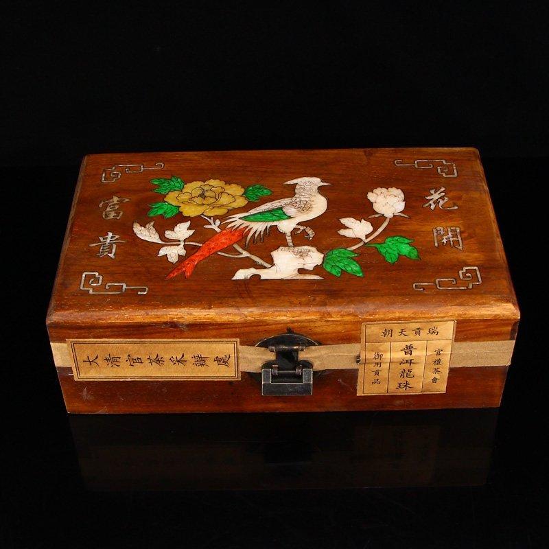 Chinese Antique Pu 'er Tea Seal In Huali Wood Box