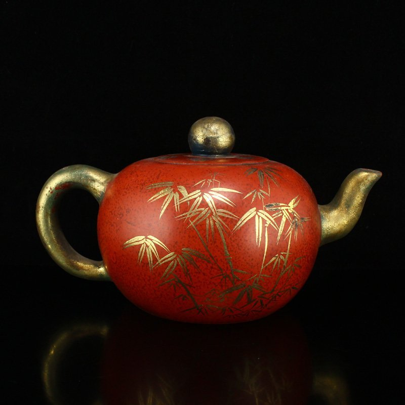 Chinese Gilt Gold Zisha Clay Teapot