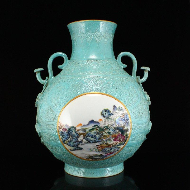 Low Relief Turquoise Glaze Famille Rose Porcelain Vase