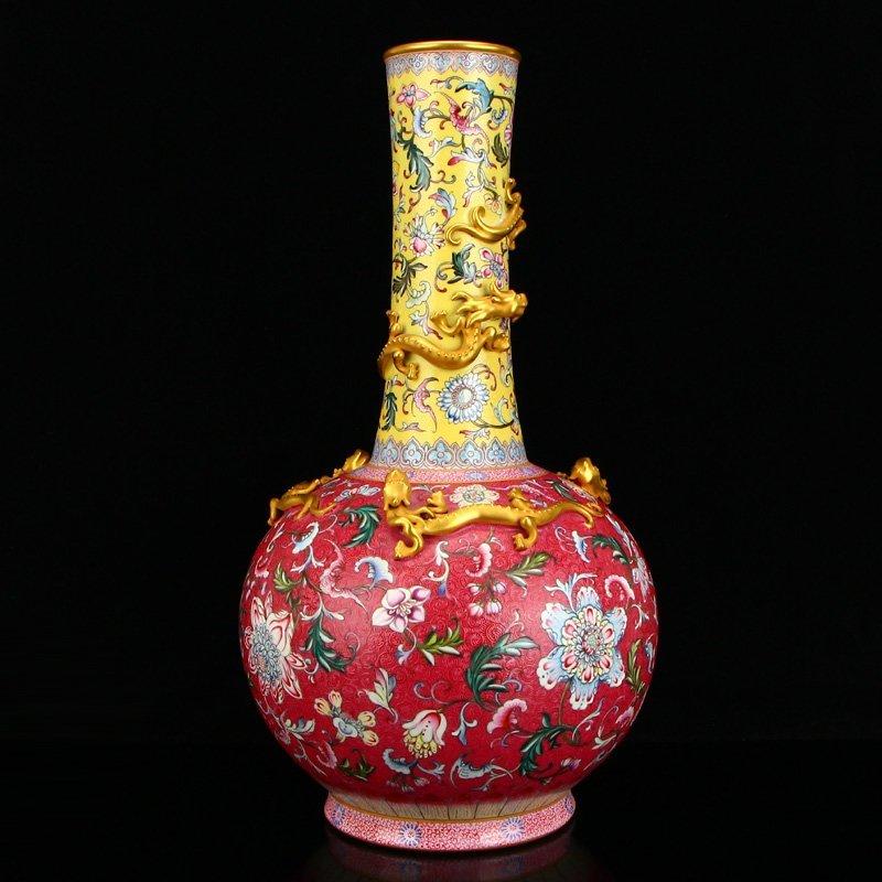 Gilt Gold Famille Rose Five Dragon Porcelain Big Vase