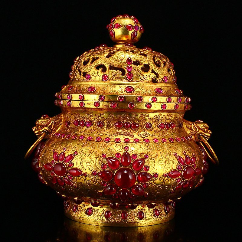 Openwork Gilt Gold Red Copper Inlay Gems Incense Burner