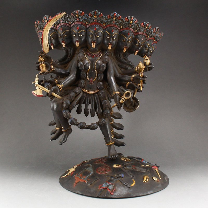 Indian Buddhism Bronze Statue - Shiva God Wife Durga