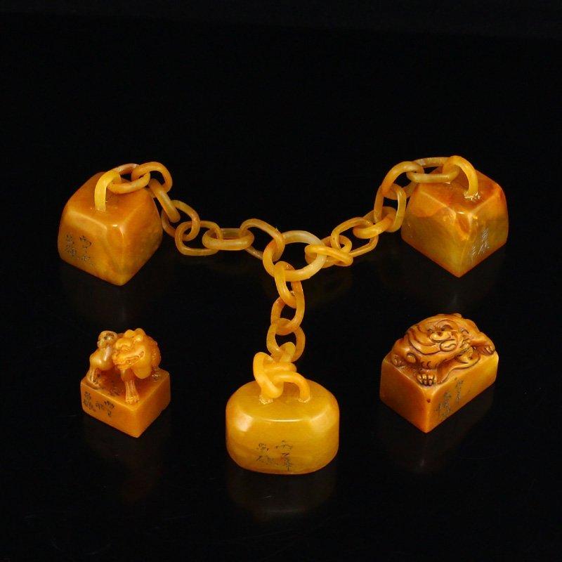 Chinese Qing Dy Tian Huang Stone Seals w Box