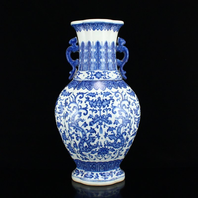 Beautiful Blue And White Porcelain Double Ears Vase