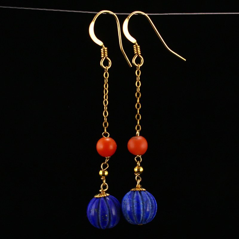 A Pair Gold Inlay Red Agate & Lapis Lazuli Earrings