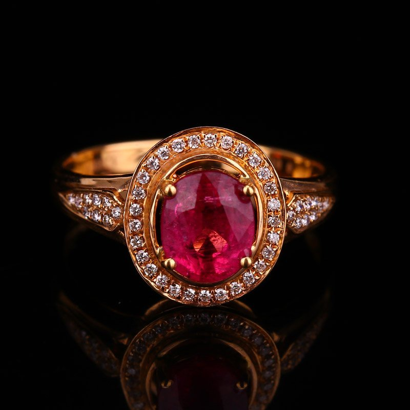 18K Solid Gold 1.25ct Ruby 0.139ct Diamonds Ring