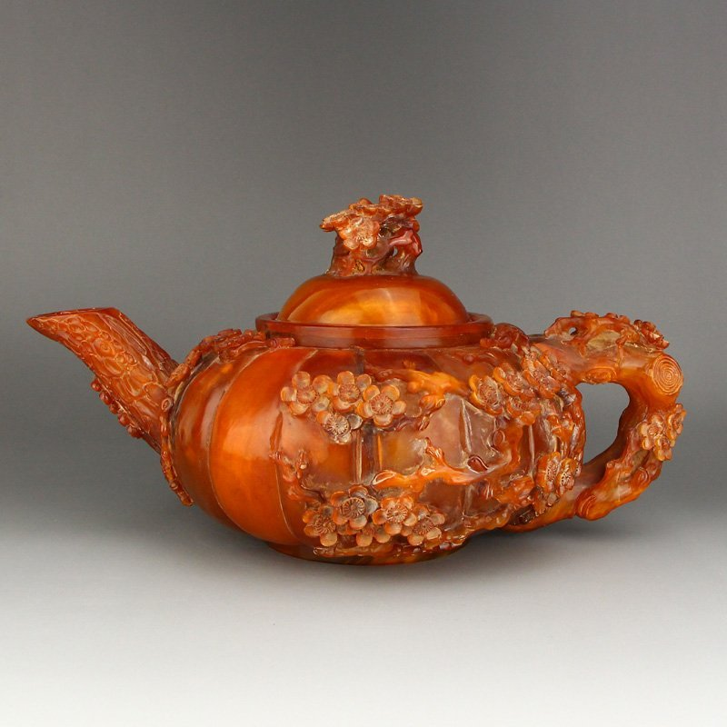 Chinese Qing Dy Low Relief Ox Horn Plum Flower Teapot