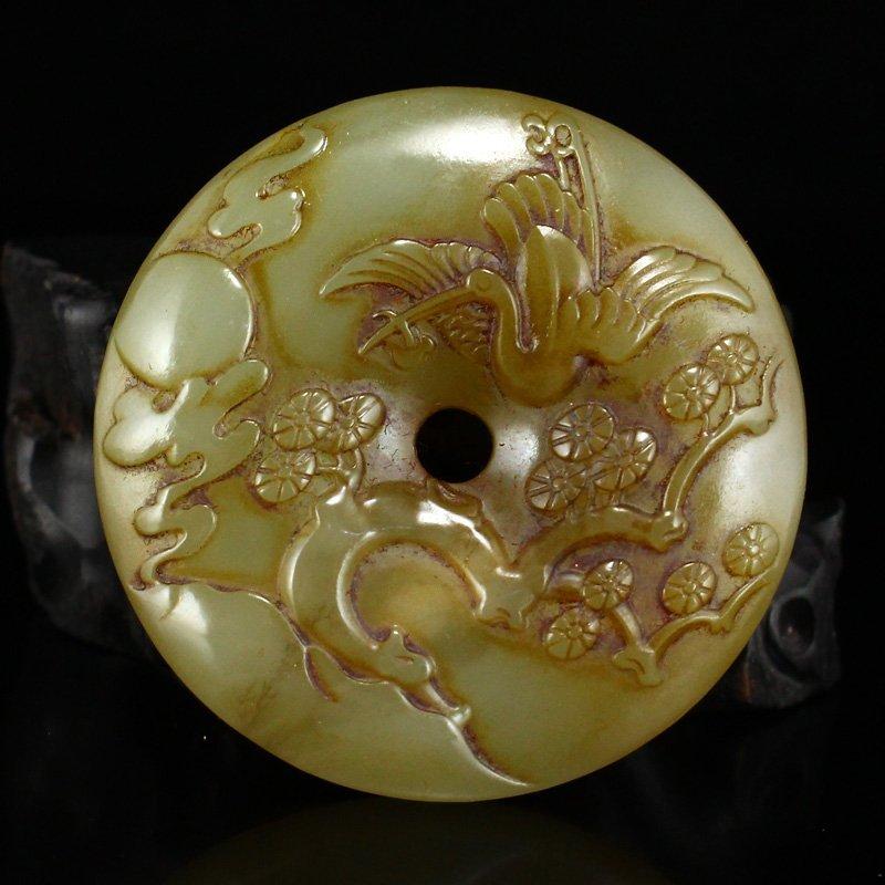 Vintage Chinese Hetian Jade Pine Tree & Crane Pendant