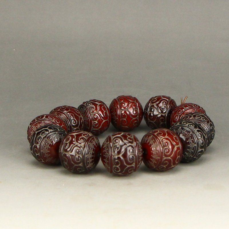 Vintage Chinese Ox Horn Beads Bracelet